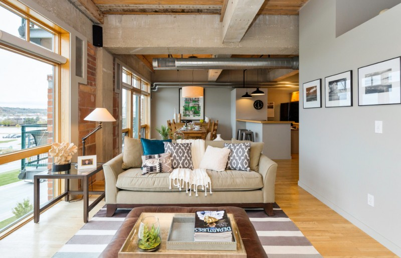 Iowa Realty Des Moines Ia for Transitional Living Room with Loft Design