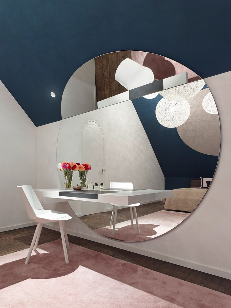 Ippolitos for Contemporary Bedroom with Large Round Wall Mirror