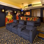 Islip Movie Theater for Traditional Home Theater with Blue Armchair