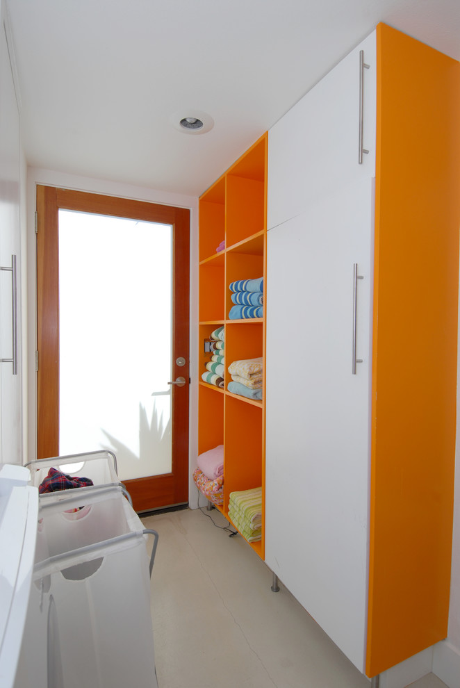 Jadon for Contemporary Laundry Room with Bright Orange Accents
