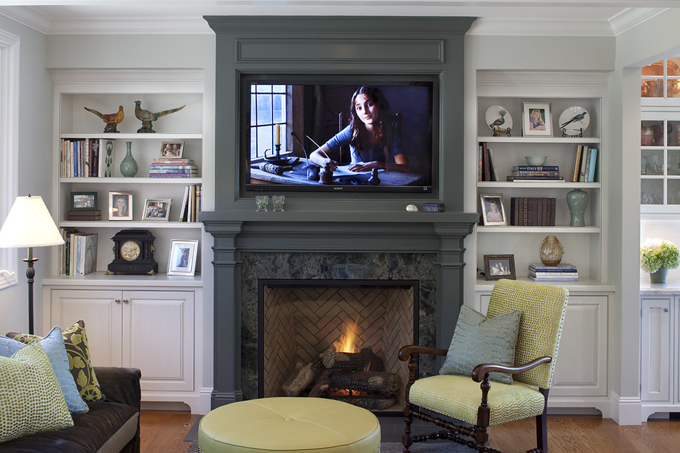 Jeff Lewis Paint for Traditional Family Room with Built in Shelves