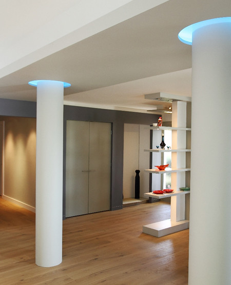 Jesco Lighting for Contemporary Living Room with Tall Ceilings