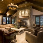 John Paras Furniture for Rustic Family Room with Dark Floor