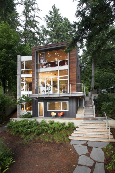 Kawneer Storefront for Contemporary Exterior with Balcony