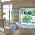 Ken Caryl Glass for Contemporary Bathroom with Jerusalem Stone Tile