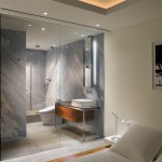 Ken Caryl Glass for Modern Bathroom with Cove Lighting