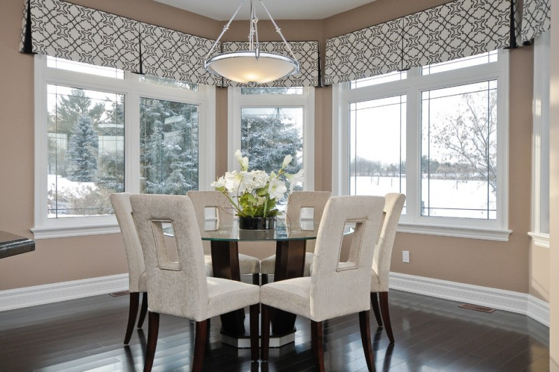 Kick Pleat for Contemporary Dining Room with Dark Hardwood Floors