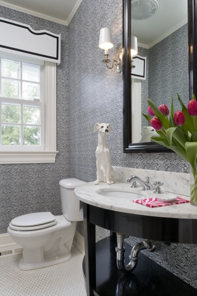 Klaffs Norwalk for Contemporary Powder Room with Dark Wood