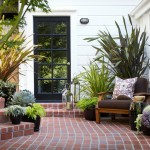 Klinker Brick for Traditional Patio with Brick Steps