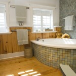 Knotty Pine for Contemporary Bathroom with Glass Shower