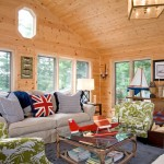 Knotty Pine for Rustic Living Room with Wall Lighting