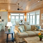 Knotty Pine for Rustic Living Room with Wood Flooring