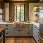 Kraus Flooring for Rustic Kitchen with Open Shelves