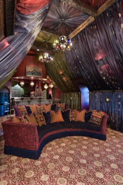 Lake Elsinore Theater for Eclectic Home Theater with Draperies