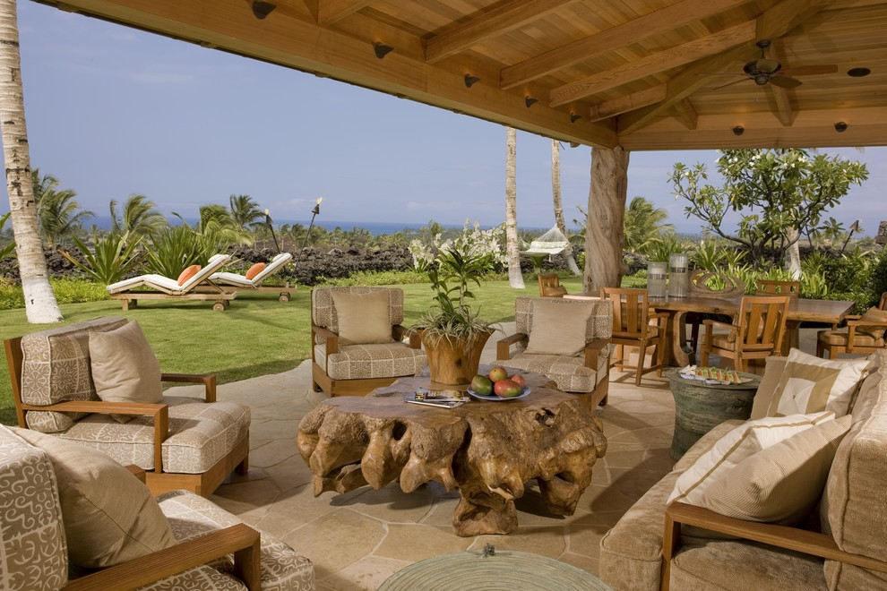 Lanais for Tropical Patio with Driftwood Coffee Table