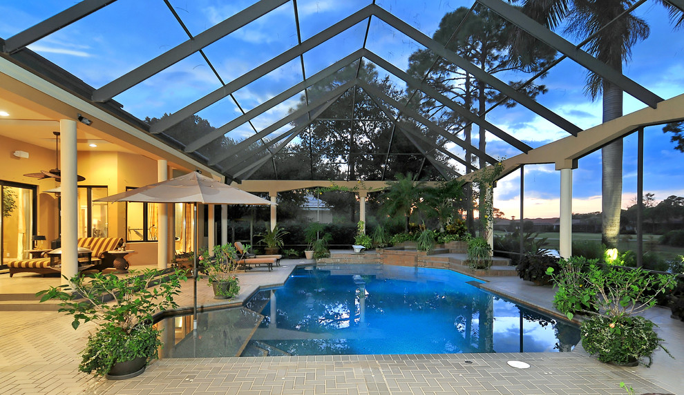 Lanais for Tropical Pool with Brick Paving