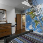 Lapeyre Stair for Modern Bedroom with Map Wall