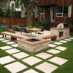 Laying Pavers for Contemporary Patio with Firewood Storage