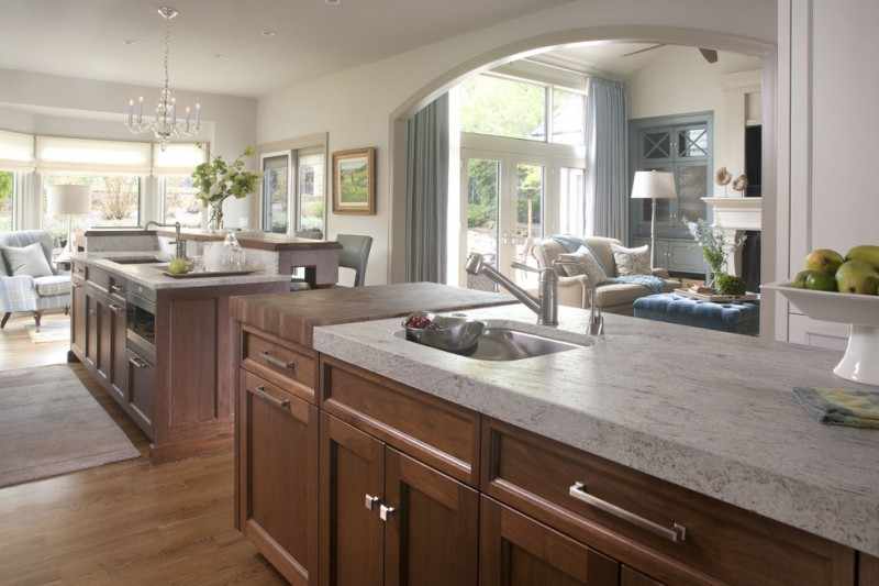 Leathered Granite for Transitional Kitchen with Two Sinks