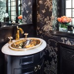 Lee Jofa for Transitional Powder Room with Bathroom Mirror
