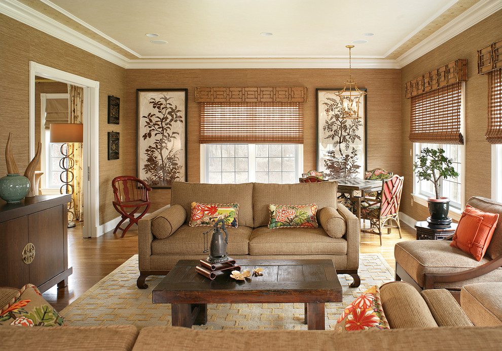 Levin Furniture for Transitional Family Room with Neutral Colors
