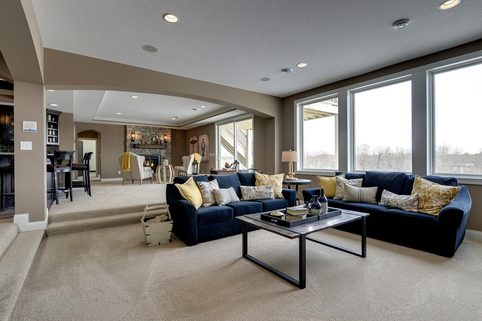 Lexmark Carpet for Transitional Family Room with Wet Bar