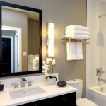 Light Bulb Depot for Contemporary Bathroom with Nice Wall Colour