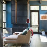 Light Bulb Depot for Contemporary Living Room with Blue Accent Walls