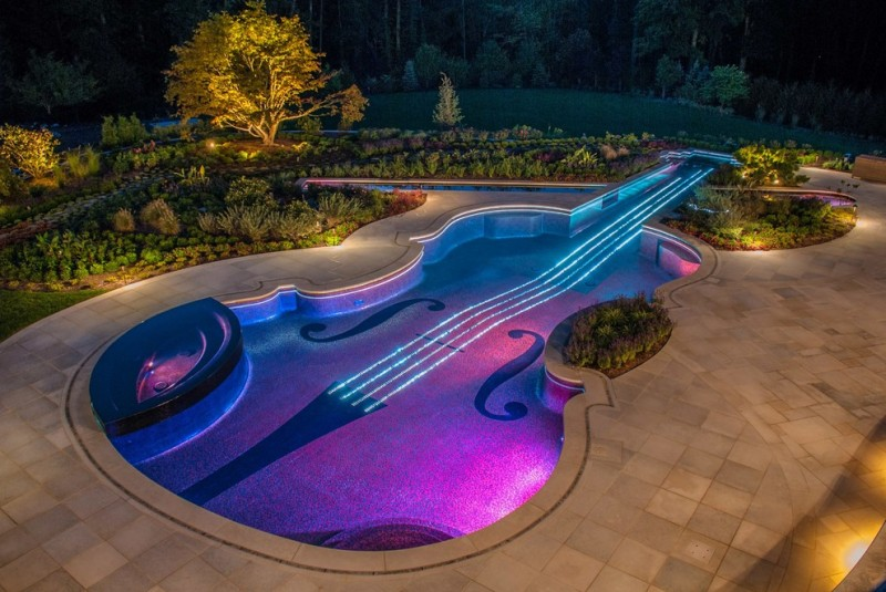 Lilly Pulitzer Designs for Eclectic Pool with Landscaping Ideas