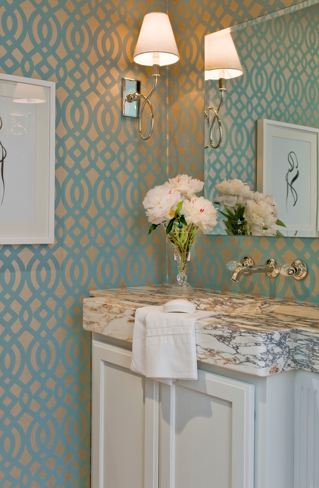 Lilly Pulitzer Wallpaper for Transitional Powder Room with White Peonies