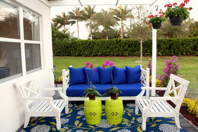 Lime Green Stool for Beach Style Patio with Outdoor Sofa
