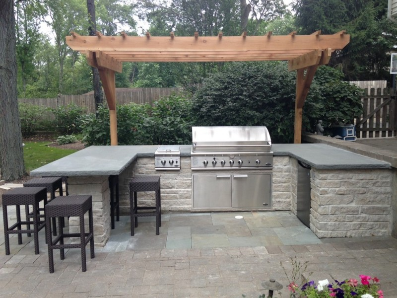 Limestone Grill for Contemporary Patio with Outdoor Dining