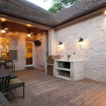 Limestone Grill for Traditional Deck with White Windows