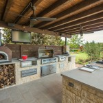 Limestone Grill for Traditional Patio with Indoor Outdoor Living