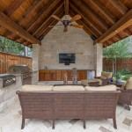 Limestone Grill for Traditional Patio with Wood Beams