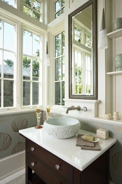 Linkasink for Traditional Powder Room with Wood Molding
