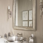 Linkasink for Transitional Powder Room with Silver Mirror