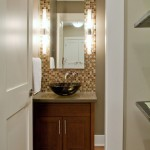Linnea Hardware for Contemporary Powder Room with Vessel Sink
