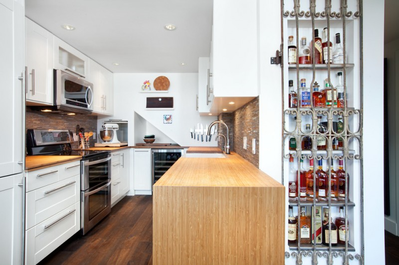 Liquor Locker for Transitional Kitchen with Kitchen