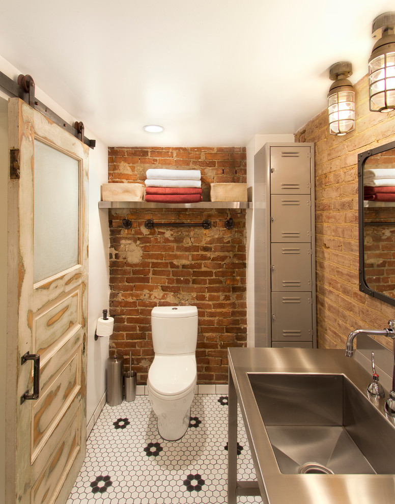 Lithonia Lighting for Industrial Powder Room with Hexagonal Tile