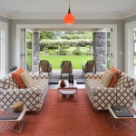 Loewen Windows for Contemporary Sunroom with Adirondack Chairs