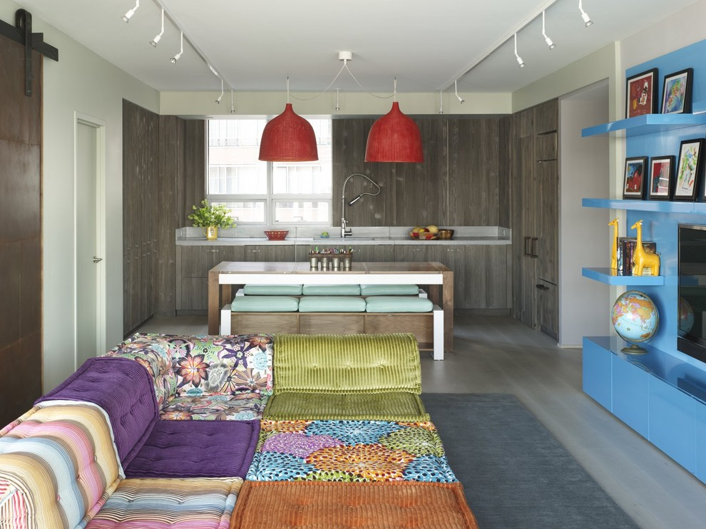 Lowes Pikeville Ky for Eclectic Family Room with Bright Blue Cabinets