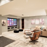 Madison Nj Movie Theater for Contemporary Basement with Black Leather Armchair