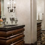 Malouf Furniture for Rustic Powder Room with Wooden Vanity