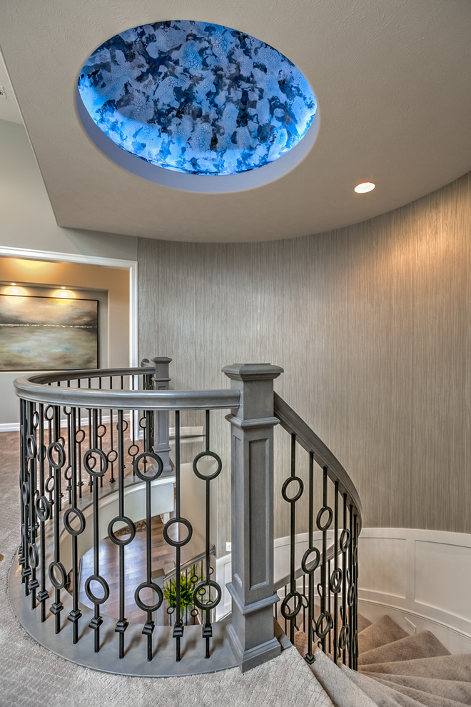 Manistee Weather for Transitional Staircase with Metal Railing