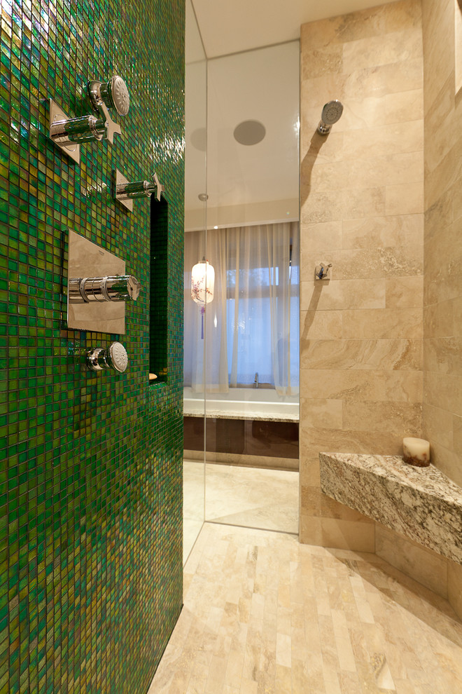 Mapei Grout Colors for Contemporary Bathroom with Glass Shower Tile