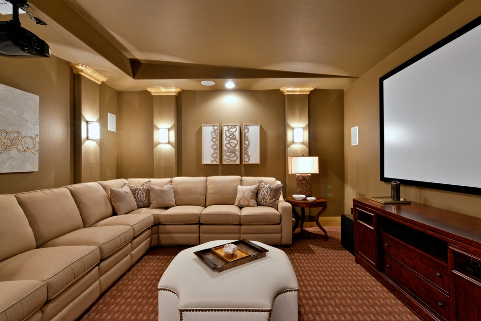 Maplewood Theater for Traditional Home Theater with Well Lit Media Room