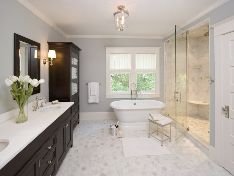 Marble Institute of America for Traditional Bathroom with Sconce