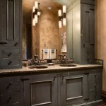 Masterbrand Cabinets for Rustic Bathroom with Arched Mirror