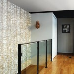 Maya Romanoff for Midcentury Staircase with Steel and Glass Guardrail